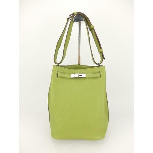 23f063daf1ea Hermes So Kelly 24 Bag Green Togo Leather Silver Metal